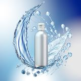 White cosmetic products with water splash on cyan background. Royalty Free Stock Photo