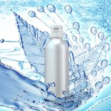 White cosmetic products with water splash on cyan background. vector illustration