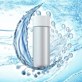 White cosmetic products with water splash on cyan background. royalty free illustration