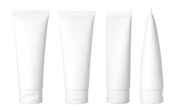 White cosmetic tube. Blank white cosmetic tube isolated on white background Royalty Free Stock Images