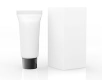 White Cosmetic tube with Package Stock Photos