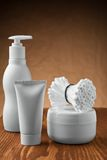 White cosmetical supplies Stock Photo
