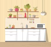 White cosy kitchen interior with furniture, sink, lamp and microwave oven, big shelf with different plant, dishes - teapot, pan,. Bowls, mugs, utensils. Modern stock illustration
