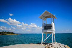 White cotage at seaside. A white wooden sightseeing cottage  at seaside of Khao Laem Ya  in Rayong province of Thailand Royalty Free Stock Images