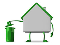White cottage character with rubbish bin.  Royalty Free Stock Photo