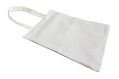 White cotton bag  isolated on white Royalty Free Stock Photo