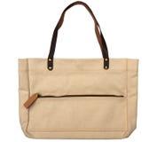 White cotton bag with leather zip fastener. On white stock photos