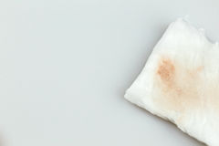 White cotton. White cosmetic cotton pad after used for make up remover,isolate on white background Royalty Free Stock Image