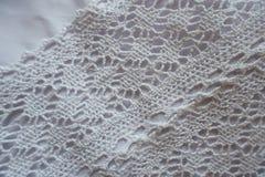 White cotton fabric with diagonal pillow lace Royalty Free Stock Photos