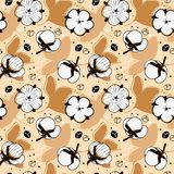 White Cotton flowers on beige background pattern. Abstract White Cotton flowers on beige background surface pattern designed in Scandinavian style Stock Images