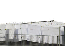 White cotton sheets drying Stock Photos