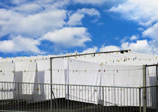 White cotton sheets drying Stock Photo