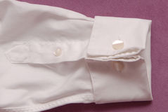 White cotton shirt, cufflink and cuff Stock Images