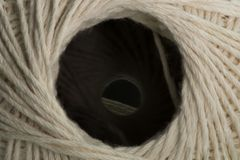 White cotton thread ball macro close up Royalty Free Stock Photography