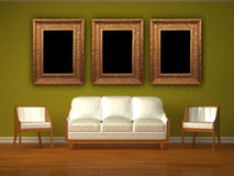 White Couch And Two Chairs With Picture Frames Royalty Free Stock Photos