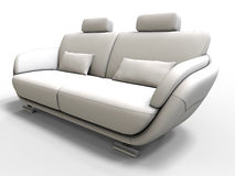 White couch perspective illustration. 3D render illustration of a white couch. The object is viewed from a perspective angle and the composition is isolated on a Royalty Free Stock Image