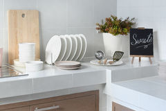 White counter in kitchen with utensil Royalty Free Stock Image