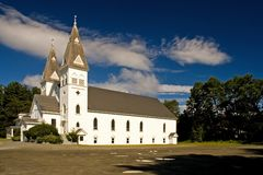 White Country Church. Church in Greenville, Maine stock photo