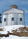 White country church on a hill Stock Photo