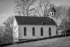 White Country Church (B/W) Royalty Free Stock Image