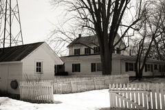 White country house in winter Royalty Free Stock Photography