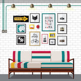 WHITE COUNTRY LIVING ROOM Stock Photo