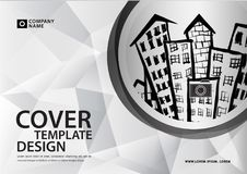 White cover template for business industry, Real Estate, buildin. G, home, Machinery. Horizontal layout, brochure flyer, annual report, book, advertisement Stock Photo
