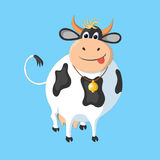 The white cow with black spots on a blue background. This drawing can be used for the design of packaging, advertising, etc Royalty Free Stock Photos