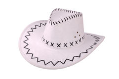 White cowboy hat isolated on white. White leather cowboy (western) hat isolated on white. clipping path included Royalty Free Stock Images