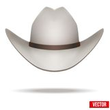 White cowboy hat. Vector Illustration. Isolated on Royalty Free Stock Photos