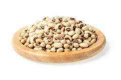 White cowpea beans in the wooden plate Stock Photos