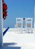 Santorini terrace Stock Photo