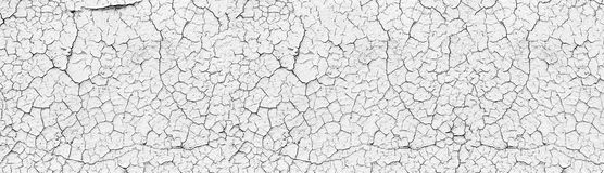 White cracked concrete wall wide texture. Old cement light surface panorama. Retro panoramic background. White cracked weathered concrete wall wide texture. Old royalty free illustration