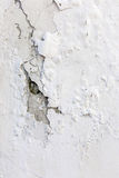 White cracked plastering wall background or texture Royalty Free Stock Photos