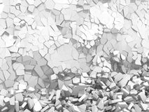 White cracked rock pieces of destruction wall Royalty Free Stock Photos