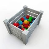 White crate with gumballs. On white background Stock Image