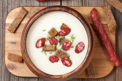 White cream beer soup with sausage in vintage Royalty Free Stock Photos