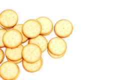 The white cream biscuits on white background Royalty Free Stock Photography