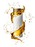 White cream bottle mock up of water splash golden color. royalty free stock photos