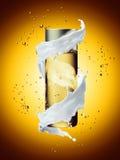 White cream bottle mock up of water splash golden color. Stock Images