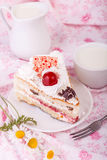 White cream cake with cherry Royalty Free Stock Photos