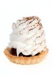 White cream cake with chocolate crumbs Stock Photo