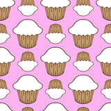 White cream cupcake seamless pattern Stock Photos