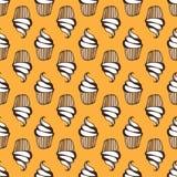 White cream cupcake seamless yellow pattern Royalty Free Stock Images