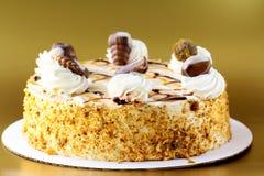 White Cream Icing Cake with Chocolate Royalty Free Stock Photos
