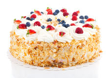 White Cream Icing Cake with Fruits Royalty Free Stock Image