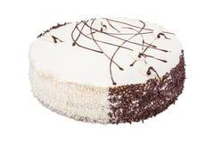 White Cream Icing Cake. Isolated on white Stock Images
