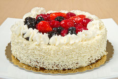 Free White Cream Icing Cake With Fruits Stock Images - 27649094