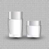 White cream jar template for skin care product. Face moisturizer lotion cosmetic package with cap or lid on transparent background. Vector Illustration Royalty Free Stock Images