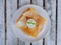 white cream roti dip Royalty Free Stock Image